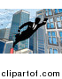 Vector Illustration of a Black and White Silhouetted Super Businesss Man Flying Through a City by AtStockIllustration