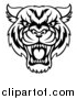 Vector Illustration of a Black and White Tough Tiger Mascot Face by AtStockIllustration