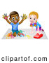 Vector Illustration of a Black Boy Finger Painting and White Girl Playing with a Toy Car by AtStockIllustration