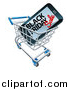 Vector Illustration of a Black Friday Sale Advertisement on a Smart Phone Screen in a Shopping Cart by AtStockIllustration