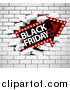 Vector Illustration of a Black Friday Sale Arrow Marquee Sign Breaking Through a White Brick Wall by AtStockIllustration