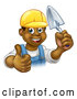 Vector Illustration of a Black Male Mason Worker Holding a Trowel and Giving a Thumb up by AtStockIllustration