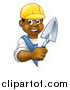 Vector Illustration of a Black Male Mason Worker Holding a Trowel Around a Sign by AtStockIllustration