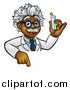 Vector Illustration of a Black Male Scientist Pointing down and Holding a Test Tube over a Sign by AtStockIllustration