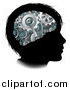 Vector Illustration of a Black Silhouetted Boy's Head with 3d Gear Cogs Visible in His Brain by AtStockIllustration