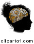 Vector Illustration of a Black Silhouetted Girl's Head in Profile with a Gear Brain by AtStockIllustration