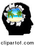 Vector Illustration of a Black Silhouetted Man's Head Thinking of Vacation with a Hole Showing a Tropical Beach by AtStockIllustration