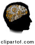 Vector Illustration of a Black Silhouetted Man's Head with 3d Gear Cogs Visible in His Brain by AtStockIllustration