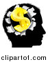 Vector Illustration of a Black Silhouetted Man's Head with a 3d Gold Dollar Symbol Breaking Out, Thinking About Money by AtStockIllustration