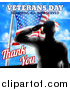 Vector Illustration of a Black Silhouetted Solder Saluting over an American Flag and Sky, with Text by AtStockIllustration