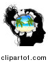 Vector Illustration of a Black Silhouetted Woman's Head Thinking of Vacation with a Hole Showing a Tropical Beach by AtStockIllustration