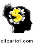 Vector Illustration of a Black Silhouetted Woman's Head with a 3d Gold Dollar Symbol Breaking out by AtStockIllustration
