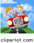 Vector Illustration of a Blond White Girl Driving a Boy in a Red Convertible Car, Catching Air on a Rural Road by AtStockIllustration