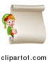Vector Illustration of a Blond White Male Christmas Elf Giving a Thumb up by a Blank Scroll by AtStockIllustration