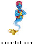Vector Illustration of a Blue Genie with an Evil Grin, Emerging from His Lamp by AtStockIllustration