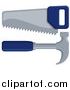 Vector Illustration of a Blue Handled Carpenter's Hand Saw and Hammer by AtStockIllustration