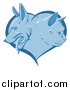 Vector Illustration of a Blue Heart with Cat and Dog Faces in Profile by AtStockIllustration