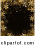 Vector Illustration of a Border of Gold Snowflakes over Black by AtStockIllustration