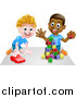 Vector Illustration of a Boys Playing with Blocks and a Toy Car by AtStockIllustration