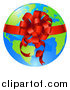 Vector Illustration of a Bright Globe with a Red Ribbon and Bow by AtStockIllustration