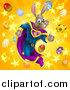 Vector Illustration of a Brown Easter Super Hero Bunny Rabbit Running Through a Burst of Eggs and Stars by AtStockIllustration