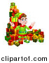 Vector Illustration of a Brunette Male Christmas Elf Surrounded with Gifts by AtStockIllustration