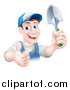 Vector Illustration of a Brunette White Male Gardener in Blue, Holding up a Shovel and Giving a Thumb up by AtStockIllustration