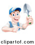 Vector Illustration of a Brunette White Male Gardener in Blue, Holding up a Shovel and Pointing by AtStockIllustration