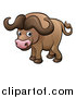 Vector Illustration of a Cartoon African Buffalo by AtStockIllustration
