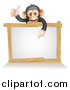 Vector Illustration of a Cartoon Black and Tan Happy Baby Chimpanzee Monkey Giving a Thumb up and Pointing down to a Blank White Sign by AtStockIllustration