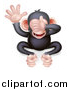 Vector Illustration of a Cartoon Black and Tan See No Evil Wise Monkey Covering His Eyes by AtStockIllustration