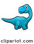 Vector Illustration of a Cartoon Blue Apatosaurus Dino by AtStockIllustration