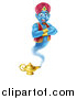 Vector Illustration of a Cartoon Blue Strong Blue Aladdin Genie Floating over a Lamp with His Arms Folded by AtStockIllustration
