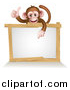 Vector Illustration of a Cartoon Brown Happy Baby Chimpanzee Monkey Giving a Thumb up and Pointing down to a Blank White Sign by AtStockIllustration