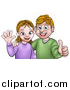 Vector Illustration of a Cartoon Casual Young Caucasian Couple Waving and Giving a Thumb up by AtStockIllustration