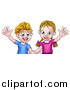 Vector Illustration of a Cartoon Caucasian Brother and Sister Waving by AtStockIllustration