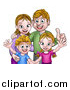 Vector Illustration of a Cartoon Caucasian Brother and Sister with Their Mom and Dad by AtStockIllustration