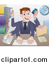 Vector Illustration of a Cartoon Caucasian Business Man Multi Tasking with Many Arms at His Office Desk by AtStockIllustration