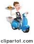 Vector Illustration of a Cartoon Caucasian Male Waiter with a Curling Mustache, Holding a Burger on a Tray on a Moped by AtStockIllustration