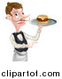Vector Illustration of a Cartoon Caucasian Male Waiter with a Curling Mustache, Holding a Cheeseburger on a Platter and Pointing to the Right by AtStockIllustration