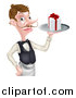 Vector Illustration of a Cartoon Caucasian Male Waiter with a Curling Mustache, Holding a Gift on a Platter by AtStockIllustration