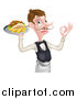 Vector Illustration of a Cartoon Caucasian Male Waiter with a Curling Mustache, Holding a Kebab Sandwich and Fries on a Tray and Gesturing Okay by AtStockIllustration