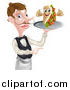 Vector Illustration of a Cartoon Caucasian Male Waiter with a Curling Mustache, Holding a Kebab Sandwich Character on a Tray and Pointing by AtStockIllustration