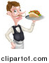 Vector Illustration of a Cartoon Caucasian Male Waiter with a Curling Mustache, Holding a Kebab Sandwich on a Tray by AtStockIllustration