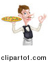 Vector Illustration of a Cartoon Caucasian Male Waiter with a Curling Mustache, Holding a Pizza on a Tray and Gesturing Ok by AtStockIllustration