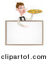 Vector Illustration of a Cartoon Caucasian Male Waiter with a Curling Mustache, Holding a Pizza on a Tray and Pointing down over a Blank White Menu Sign Board by AtStockIllustration