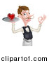 Vector Illustration of a Cartoon Caucasian Male Waiter with a Curling Mustache, Holding a Red Love Heart on a Tray and Gesturing Ok by AtStockIllustration
