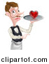 Vector Illustration of a Cartoon Caucasian Male Waiter with a Curling Mustache, Holding a Red Love Heart on a Tray and Pointing by AtStockIllustration