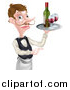 Vector Illustration of a Cartoon Caucasian Male Waiter with a Curling Mustache, Holding Red Wine on a Tray and Pointing by AtStockIllustration