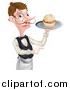 Vector Illustration of a Cartoon Caucasian Male Waiter with a Curling Mustache, Pointing and Holding a Cupcake on a Tray by AtStockIllustration